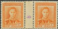 NZ Counter Coil Pair SG 680 1947 2d King George VI Join No. 8 (NCC/307)